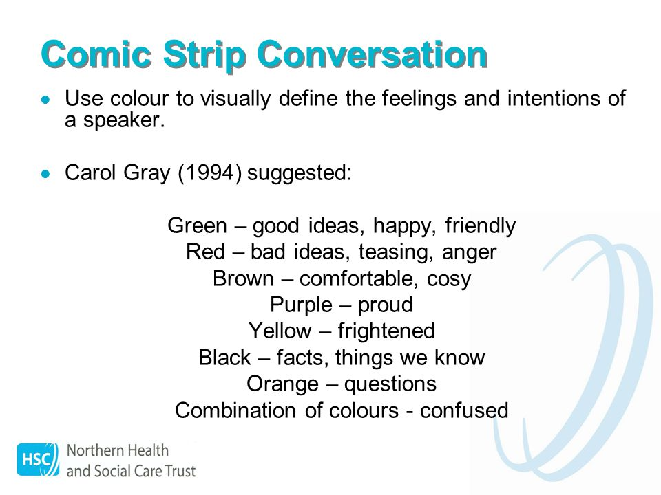 Comic Strip Conversation Use colour to visually define the feelings and intentions of a speaker.