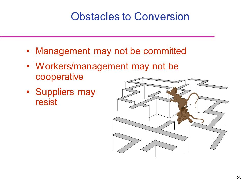 58 Obstacles to Conversion Management may not be committed Workers/management may not be cooperative Suppliers may resist