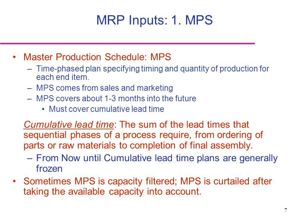 8 MRP inputs: 2.
