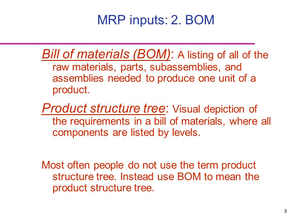 29 Requirements of MRP Computer and necessary software Accurate and up-to-date inputs: –Master schedules –Bills of materials –Inventory records Integrity of data