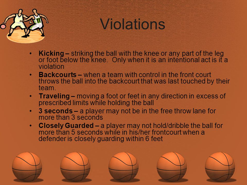 Violations Kicking – striking the ball with the knee or any part of the leg or foot below the knee. Only when it is an intentional act is it a violati