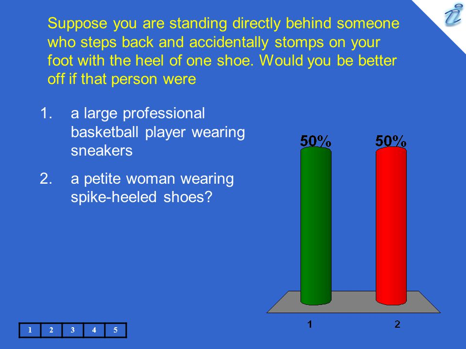 Suppose you are standing directly behind someone who steps back and accidentally stomps on your foot with the heel of one shoe. Would you be better of