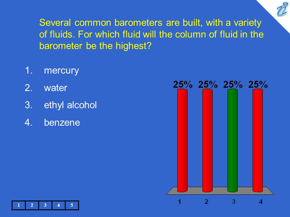 Several common barometers are built, with a variety of fluids. For which fluid will the column of fluid in the barometer be the highest? 12345 1.mercu
