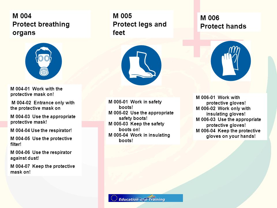 M 004 Protect breathing organs M 005 Protect legs and feet M 006 Protect hands M 004-01 Work with the protective mask on.