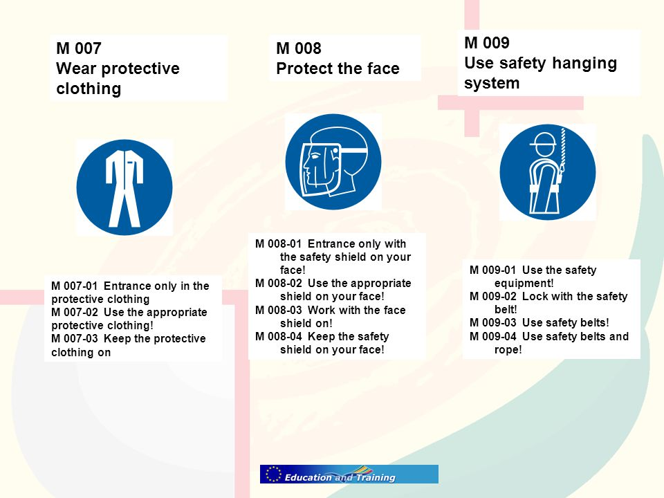 M 009 Use safety hanging system M 008 Protect the face M 007 Wear protective clothing M 007-01 Entrance only in the protective clothing M 007-02 Use the appropriate protective clothing.