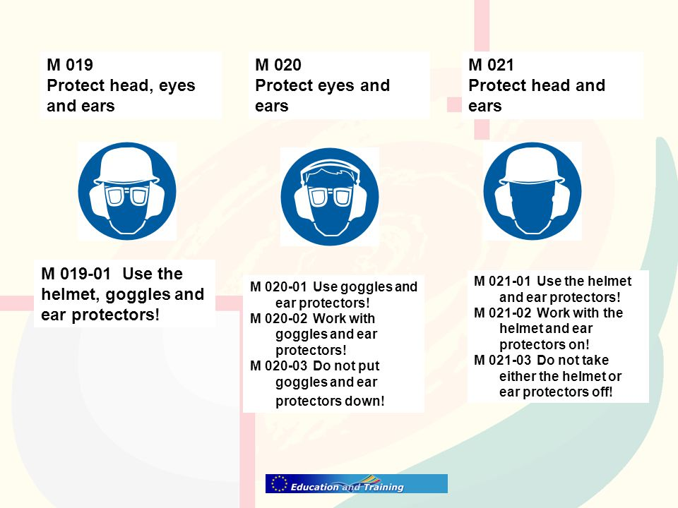 M 020 Protect eyes and ears M 019 Protect head, eyes and ears M 019-01 Use the helmet, goggles and ear protectors! M 020-01 Use goggles and ear protec