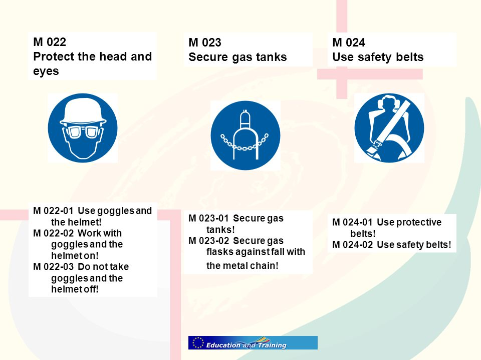 M 024 Use safety belts M 023 Secure gas tanks M 022 Protect the head and eyes M 024-01 Use protective belts.
