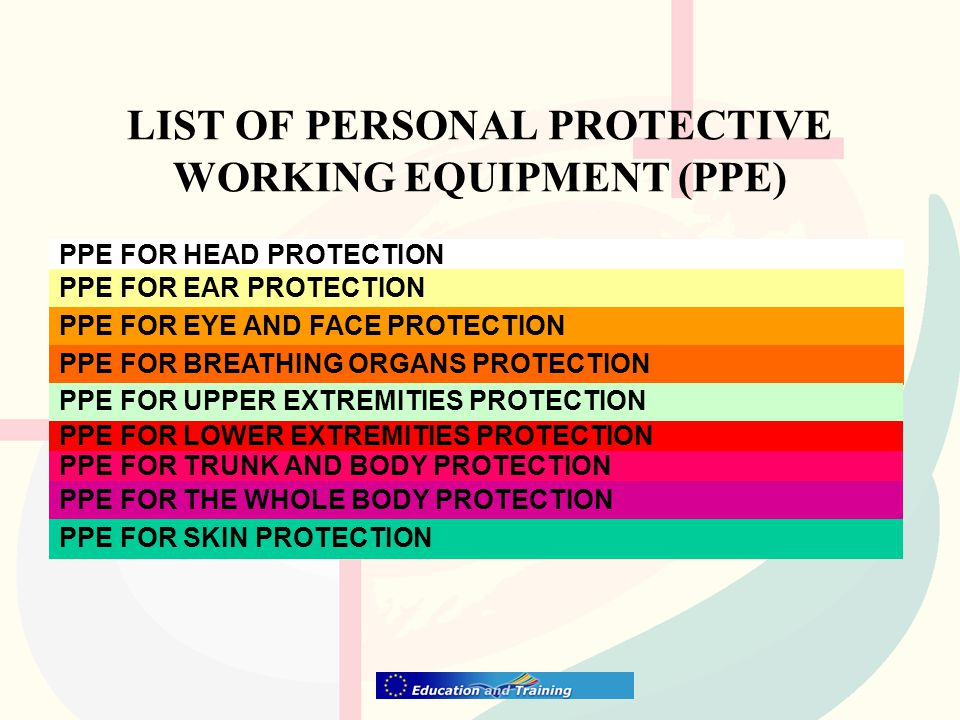 LIST OF PERSONAL PROTECTIVE WORKING EQUIPMENT (PPE) PPE FOR HEAD PROTECTION PPE FOR EAR PROTECTION PPE FOR EYE AND FACE PROTECTION PPE FOR BREATHING ORGANS PROTECTION PPE FOR UPPER EXTREMITIES PROTECTION PPE FOR LOWER EXTREMITIES PROTECTION PPE FOR TRUNK AND BODY PROTECTION PPE FOR THE WHOLE BODY PROTECTION PPE FOR SKIN PROTECTION