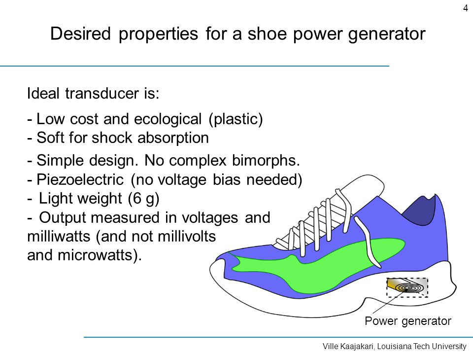 Ville Kaajakari, Louisiana Tech University 4 Desired properties for a shoe power generator - Low cost and ecological (plastic) - Soft for shock absorp