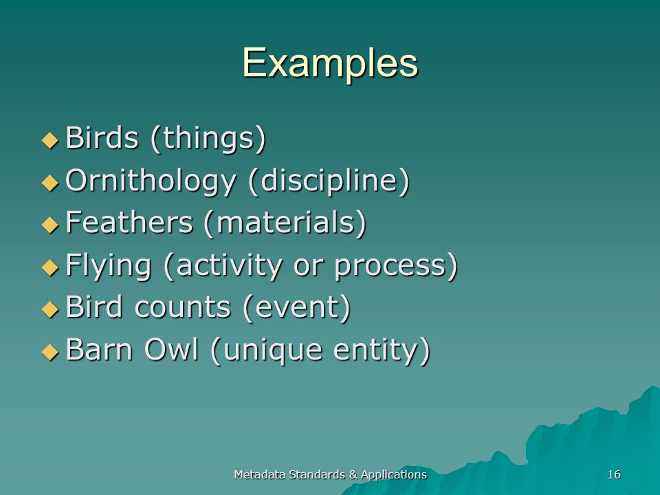 Metadata Standards & Applications 16 Examples Birds (things) Birds (things) Ornithology (discipline) Ornithology (discipline) Feathers (materials) Feathers (materials) Flying (activity or process) Flying (activity or process) Bird counts (event) Bird counts (event) Barn Owl (unique entity) Barn Owl (unique entity)