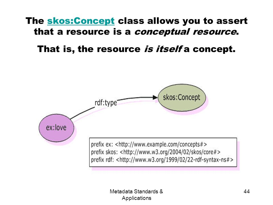 Metadata Standards & Applications 44 The skos:Concept class allows you to assert that a resource is a conceptual resource.