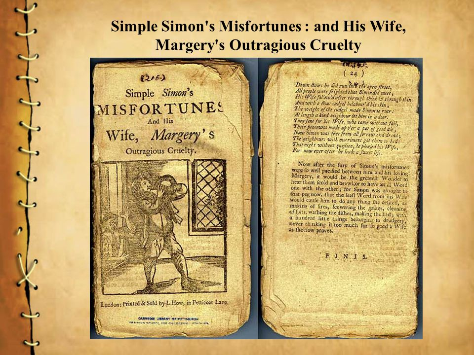 Simple Simon's Misfortunes : and His Wife, Margery's Outragious Cruelty