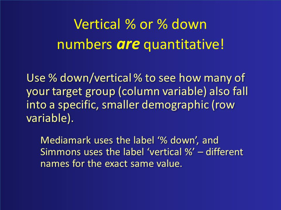 Vertical % or % down numbers are quantitative.
