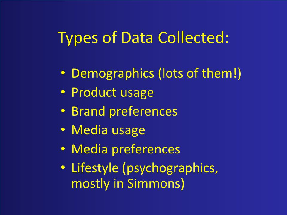 Types of Data Collected: Demographics (lots of them!) Product usage Brand preferences Media usage Media preferences Lifestyle (psychographics, mostly in Simmons)