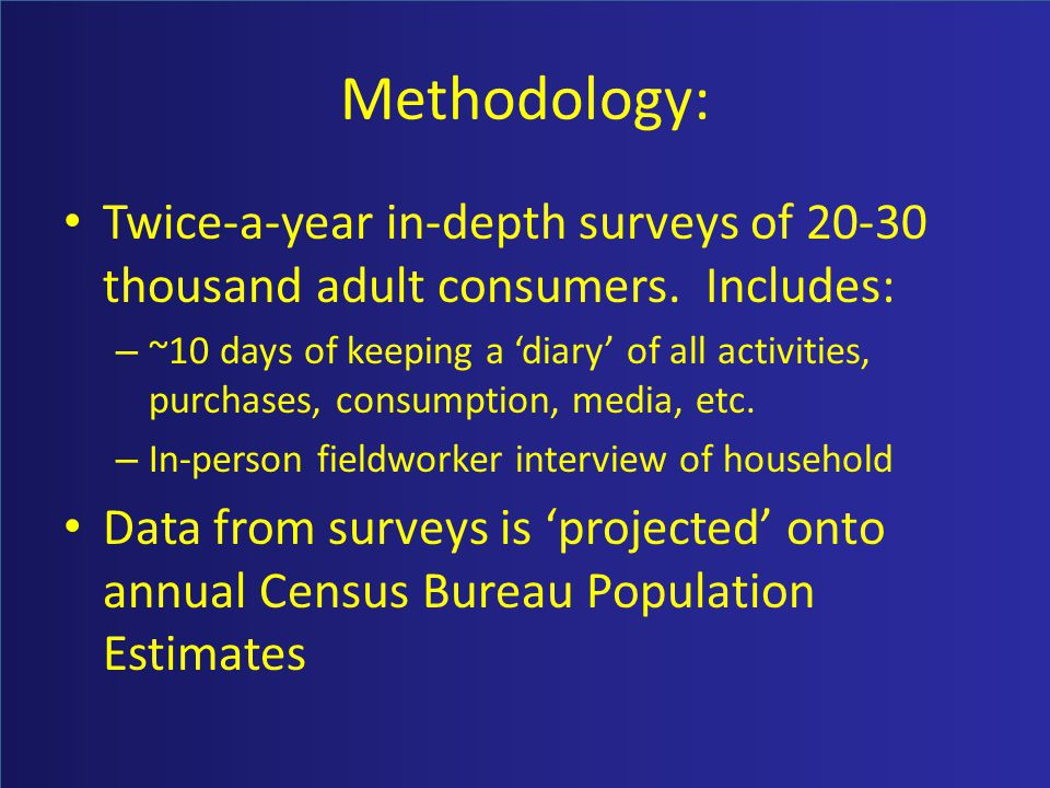 Methodology: Twice-a-year in-depth surveys of 20-30 thousand adult consumers.