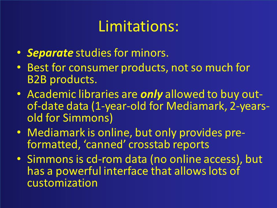 Limitations: Separate studies for minors. Best for consumer products, not so much for B2B products. Academic libraries are only allowed to buy out- of