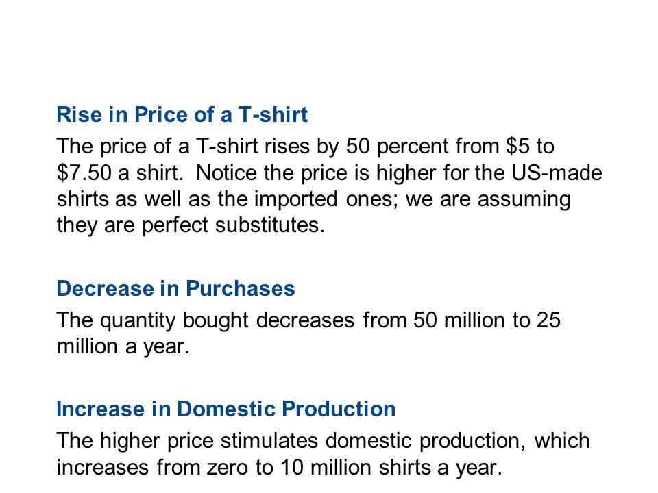 19.3 TRADE RESTRICTIONS Rise in Price of a T-shirt The price of a T-shirt rises by 50 percent from $5 to $7.50 a shirt. Notice the price is higher for