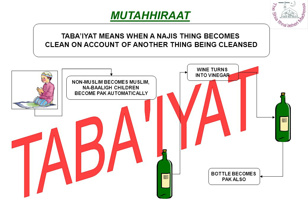 TABAIYAT MEANS WHEN A NAJIS THING BECOMES CLEAN ON ACCOUNT OF ANOTHER THING BEING CLEANSED NON-MUSLIM BECOMES MUSLIM, NA-BAALIGH CHILDREN BECOME PAK A