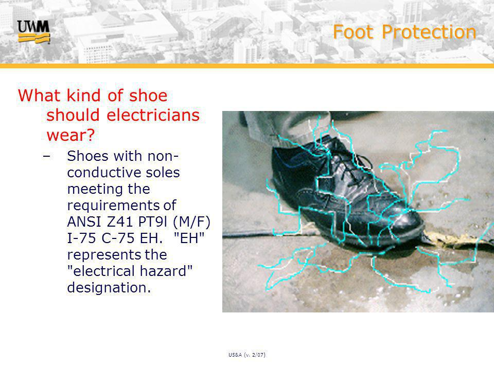 US&A (v. 2/07) Foot Protection What kind of shoe should electricians wear.