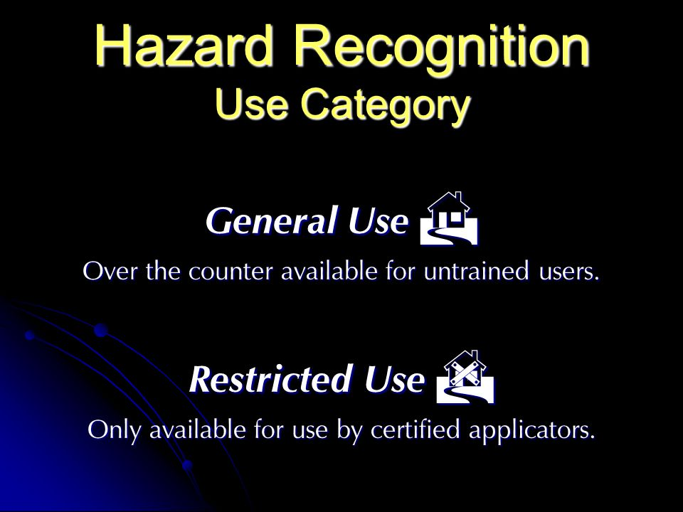 Hazard Recognition Use Category General Use General Use Over the counter available for untrained users.
