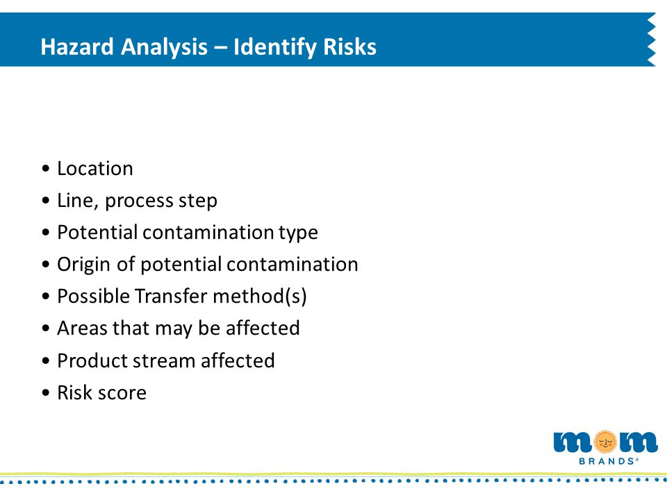 Hazard Analysis – Identify Risks Location Line, process step Potential contamination type Origin of potential contamination Possible Transfer method(s