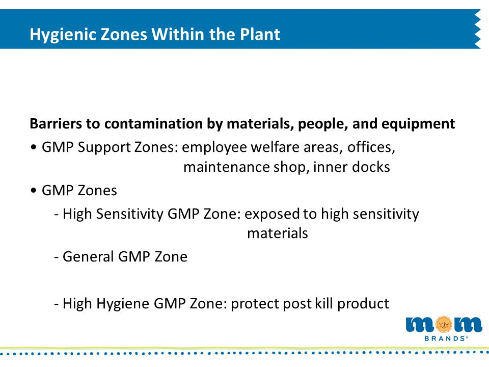 Hygienic Zones Within the Plant Barriers to contamination by materials, people, and equipment GMP Support Zones: employee welfare areas, offices, main