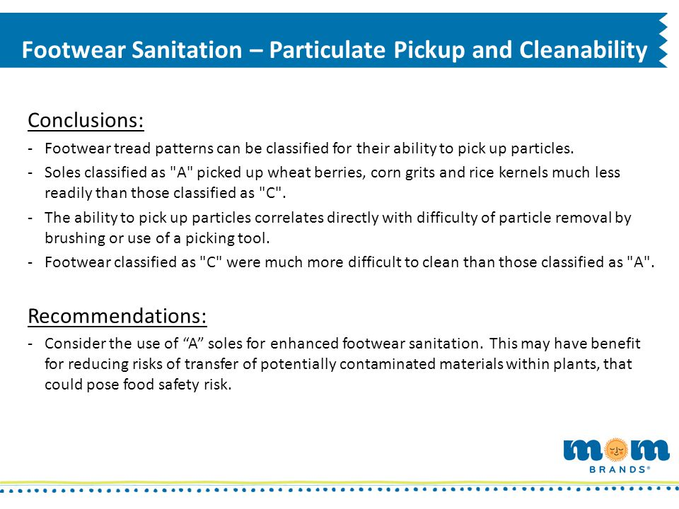 Footwear Sanitation – Particulate Pickup and Cleanability Conclusions: -Footwear tread patterns can be classified for their ability to pick up particl