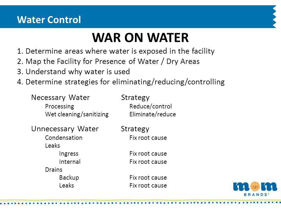 Water Control WAR ON WATER Minimize water usage where possible Reduce frequency of cleaning/sanitizing if appropriate Enhance sanitary design (reduce wet time) Accessible - Cleanable – Sanitizable – Dryable – Inspectable Substitute dry cleaning/dry sanitizing methods for wet methods and validate them (scrape, brush, vacuum, wipe, alcohol-quat) Visibly clean – ATP standard criteria – Allergen test negatives – APC standard criteria Enhance water control Pipe directly to drains Establish dedicated wash rooms Fix leaks / backups Track water use and water exposure events
