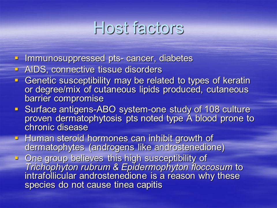 Host factors Immunosuppressed pts- cancer, diabetes Immunosuppressed pts- cancer, diabetes AIDS, connective tissue disorders AIDS, connective tissue d