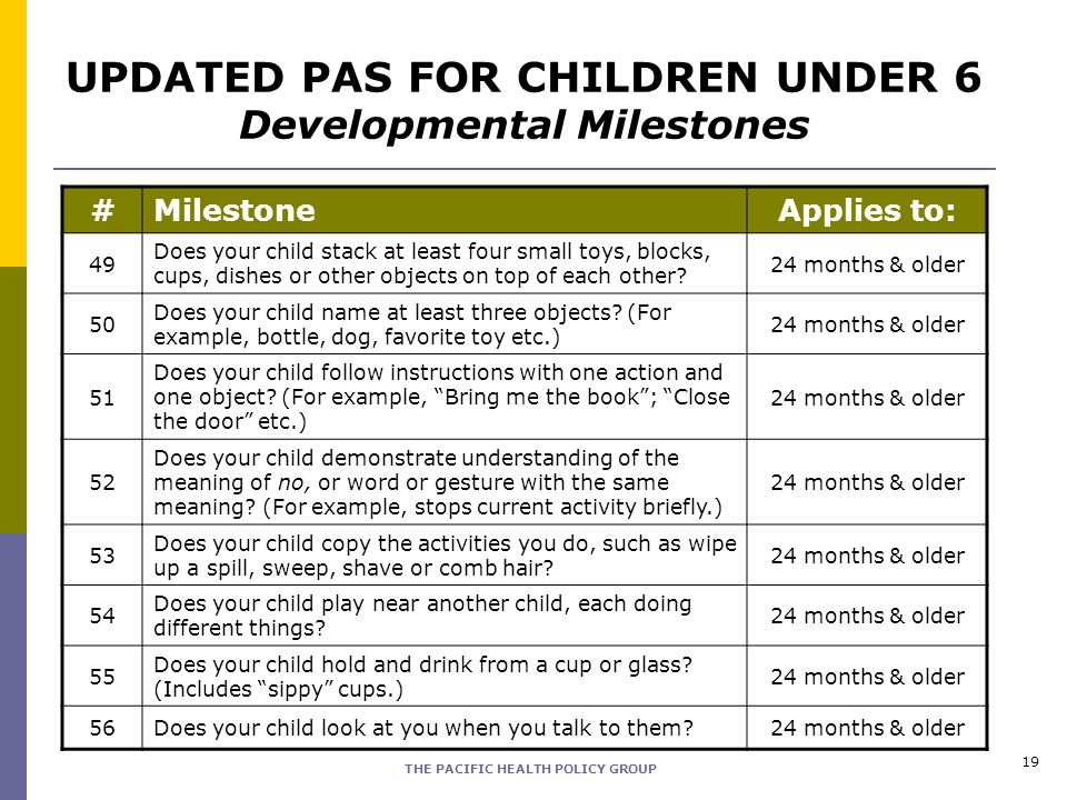 THE PACIFIC HEALTH POLICY GROUP 19 #MilestoneApplies to: 49 Does your child stack at least four small toys, blocks, cups, dishes or other objects on t