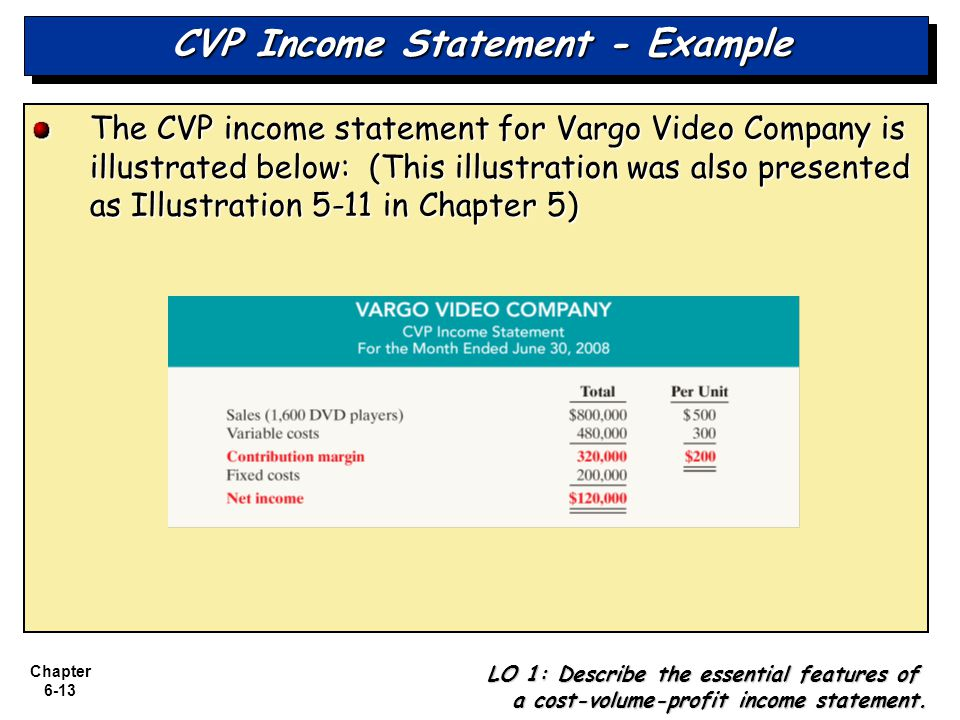 Chapter 6-13 CVP Income Statement - Example The CVP income statement for Vargo Video Company is illustrated below: (This illustration was also presented as Illustration 5-11 in Chapter 5) LO 1: Describe the essential features of a cost-volume-profit income statement.