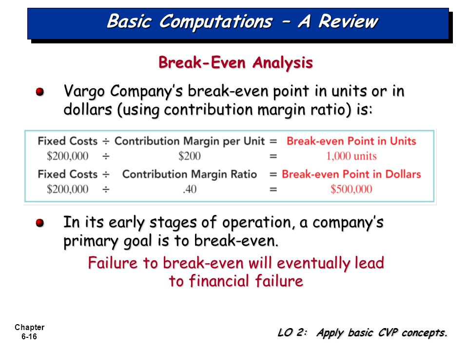 Chapter 6-16 Basic Computations – A Review Break-Even Analysis Vargo Companys break-even point in units or in dollars (using contribution margin ratio) is: In its early stages of operation, a companys primary goal is to break-even.