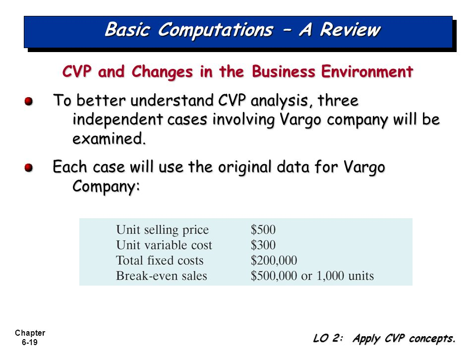 Chapter 6-19 Basic Computations – A Review CVP and Changes in the Business Environment To better understand CVP analysis, three independent cases involving Vargo company will be examined.