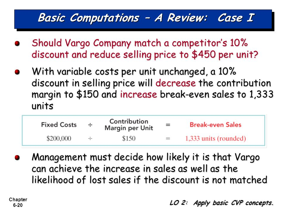 Chapter 6-20 Basic Computations – A Review: Case I Should Vargo Company match a competitors 10% discount and reduce selling price to $450 per unit.