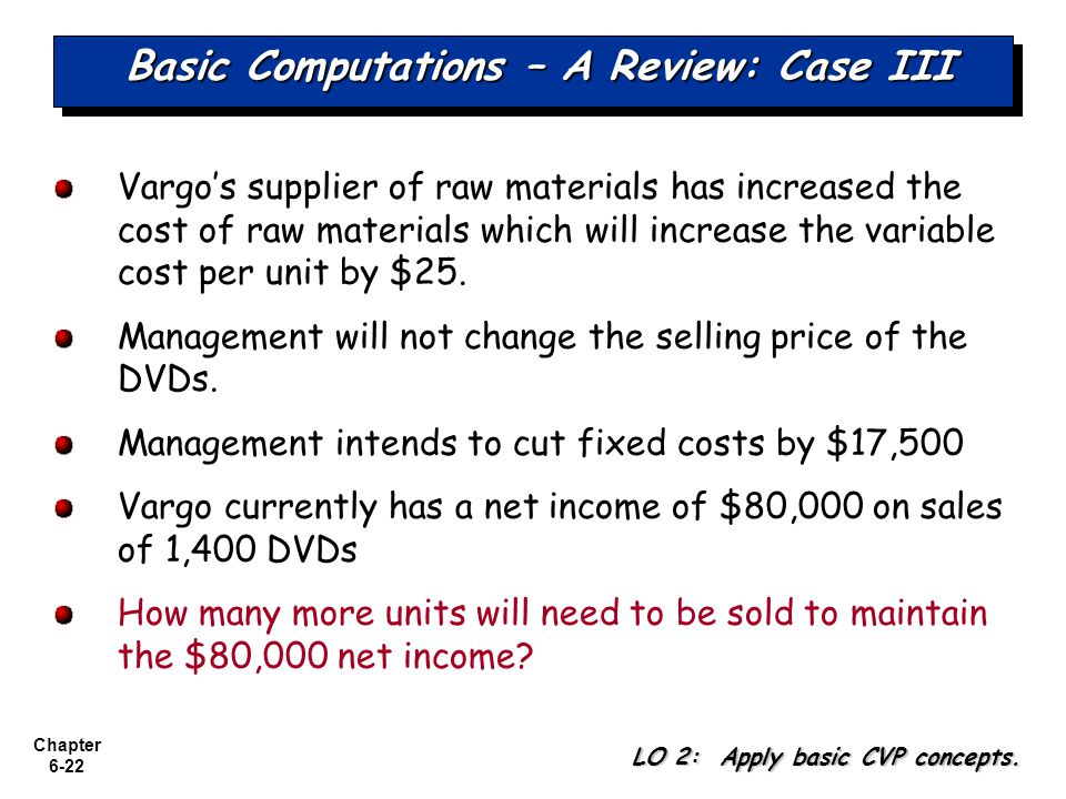 Chapter 6-22 Basic Computations – A Review: Case III Vargos supplier of raw materials has increased the cost of raw materials which will increase the variable cost per unit by $25.