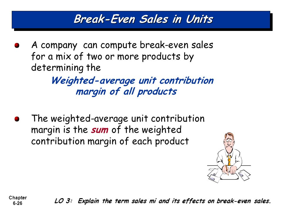 Chapter 6-26 Break-Even Sales in Units A company can compute break-even sales for a mix of two or more products by determining the Weighted-average un