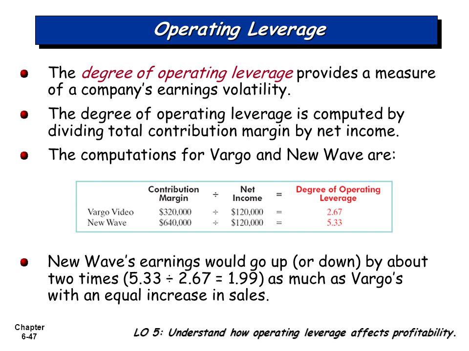 Chapter 6-47 Operating Leverage The degree of operating leverage provides a measure of a companys earnings volatility.