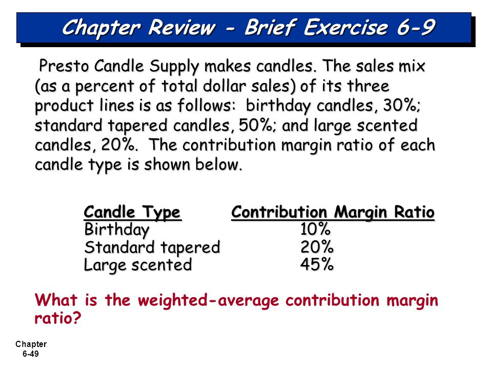 Chapter 6-49 Chapter Review - Brief Exercise 6-9 Presto Candle Supply makes candles. The sales mix (as a percent of total dollar sales) of its three p