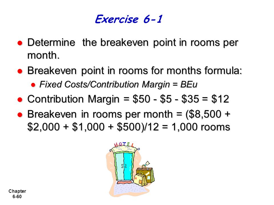 Chapter 6-60 Determine the breakeven point in rooms per month. Determine the breakeven point in rooms per month. Breakeven point in rooms for months f