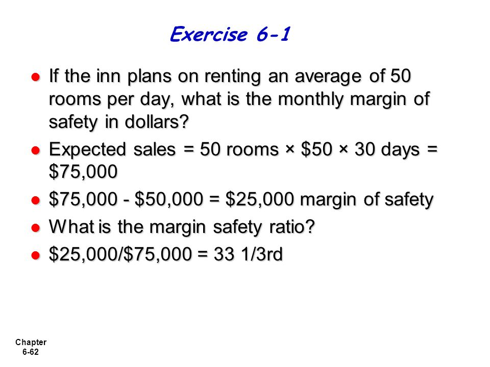 Chapter 6-62 If the inn plans on renting an average of 50 rooms per day, what is the monthly margin of safety in dollars.