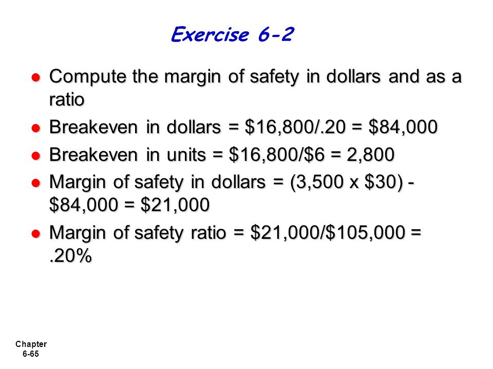 Chapter 6-65 Compute the margin of safety in dollars and as a ratio Compute the margin of safety in dollars and as a ratio Breakeven in dollars = $16,800/.20 = $84,000 Breakeven in dollars = $16,800/.20 = $84,000 Breakeven in units = $16,800/$6 = 2,800 Breakeven in units = $16,800/$6 = 2,800 Margin of safety in dollars = (3,500 x $30) - $84,000 = $21,000 Margin of safety in dollars = (3,500 x $30) - $84,000 = $21,000 Margin of safety ratio = $21,000/$105,000 =.20% Margin of safety ratio = $21,000/$105,000 =.20% Exercise 6-2