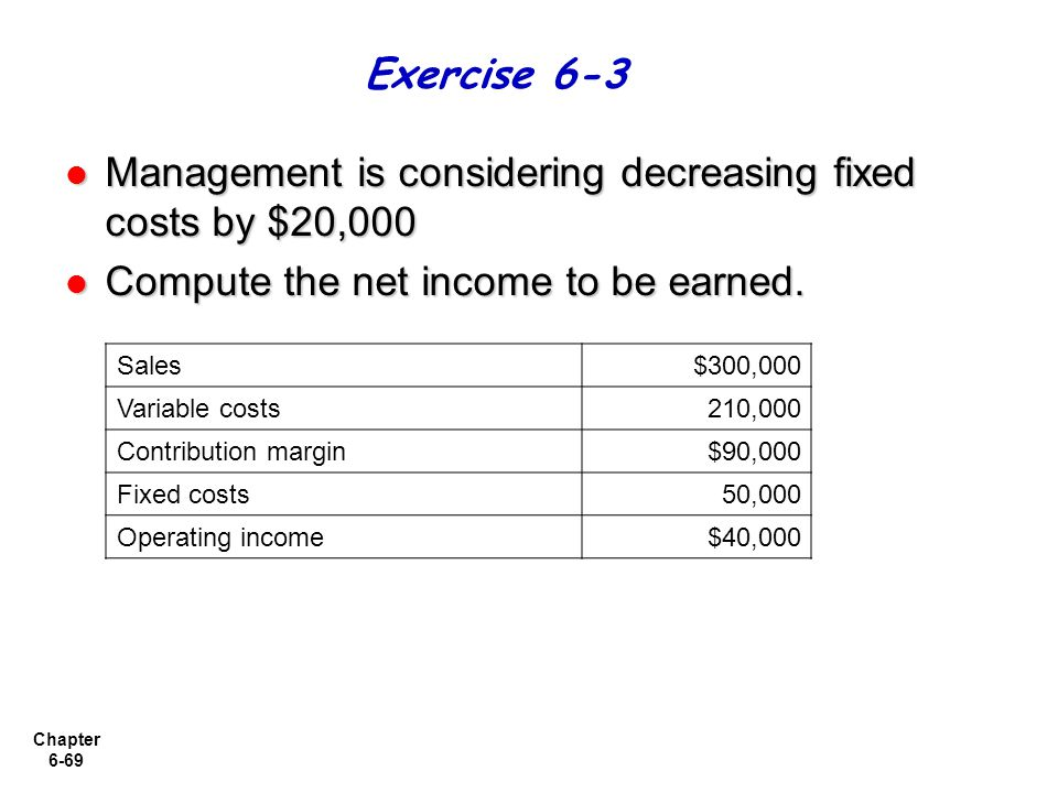 Chapter 6-69 Management is considering decreasing fixed costs by $20,000 Management is considering decreasing fixed costs by $20,000 Compute the net i