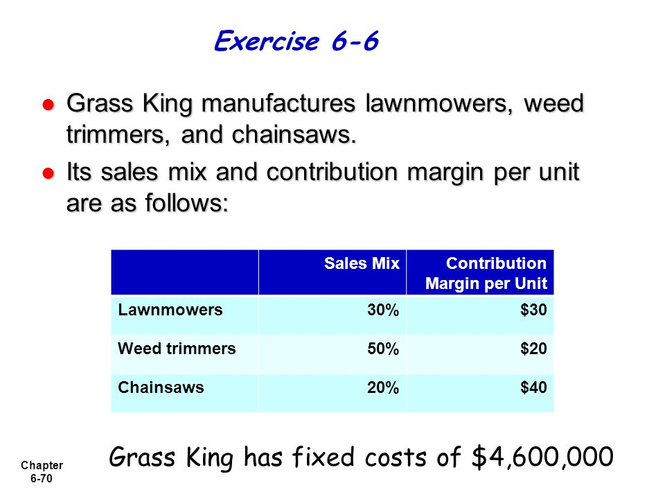 Chapter 6-70 Grass King manufactures lawnmowers, weed trimmers, and chainsaws. Grass King manufactures lawnmowers, weed trimmers, and chainsaws. Its s