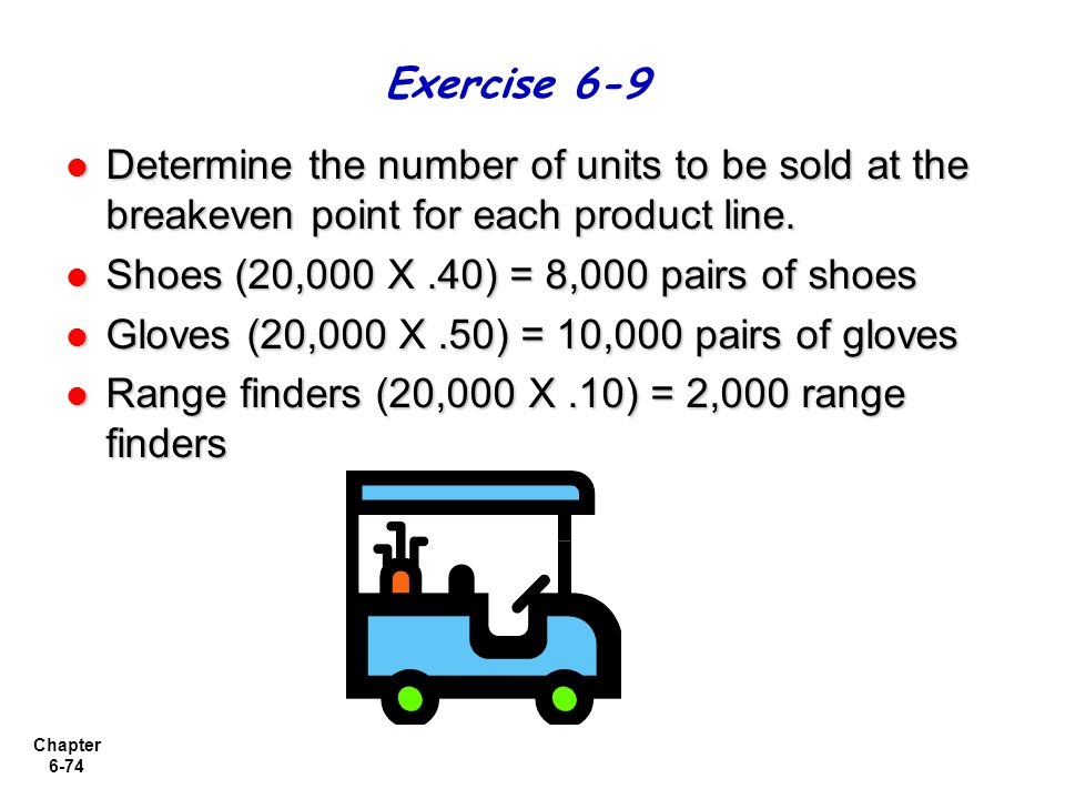Chapter 6-74 Determine the number of units to be sold at the breakeven point for each product line.