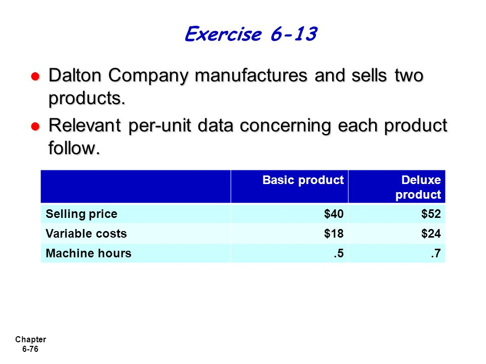 Chapter 6-76 Dalton Company manufactures and sells two products. Dalton Company manufactures and sells two products. Relevant per-unit data concerning