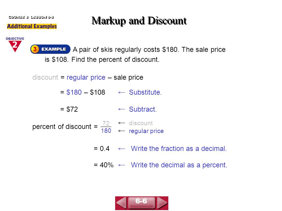 A pair of skis regularly costs $180. The sale price is $108.