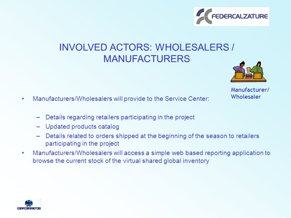 INVOLVED ACTORS: WHOLESALERS / MANUFACTURERS Manufacturers/Wholesalers will provide to the Service Center: –Details regarding retailers participating in the project –Updated products catalog –Details related to orders shipped at the beginning of the season to retailers participating in the project Manufacturers/Wholesalers will access a simple web based reporting application to browse the current stock of the virtual shared global inventory Manufacturer/ Wholesaler