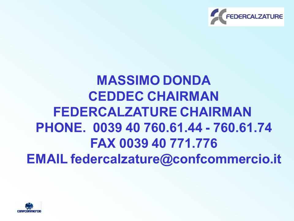 MASSIMO DONDA CEDDEC CHAIRMAN FEDERCALZATURE CHAIRMAN PHONE.