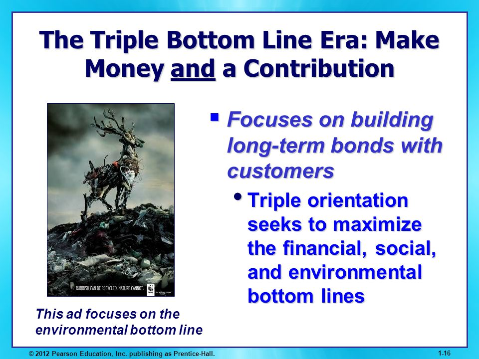 © 2012 Pearson Education, Inc. publishing as Prentice-Hall. 1-16 The Triple Bottom Line Era: Make Money and a Contribution Focuses on building long-te