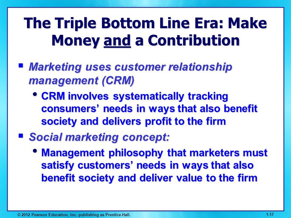 © 2012 Pearson Education, Inc. publishing as Prentice-Hall. 1-17 The Triple Bottom Line Era: Make Money and a Contribution Marketing uses customer rel